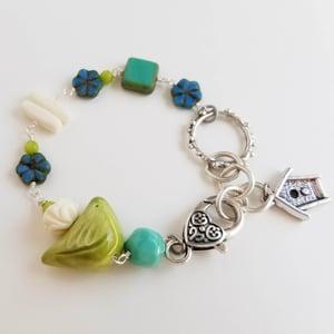 Image of Springtime Birds and Flowers Bracelet (Lime, Aqua + Blue)