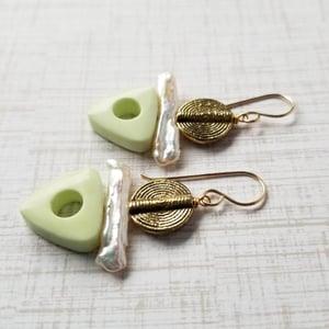 Image of Tribal Styled Lemon Chrysoprase Earrings