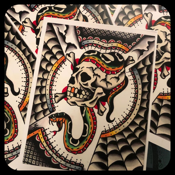 Image of ORIGINAL PAINTING SKULL AND SNAKE