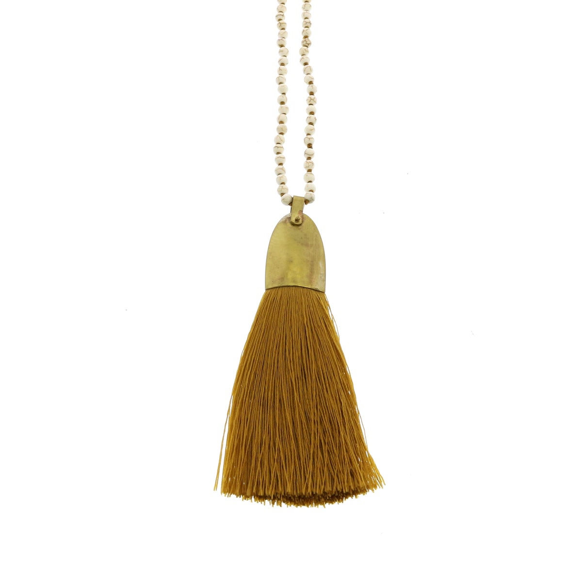 Image of Brass & Tassel Pendant Necklace