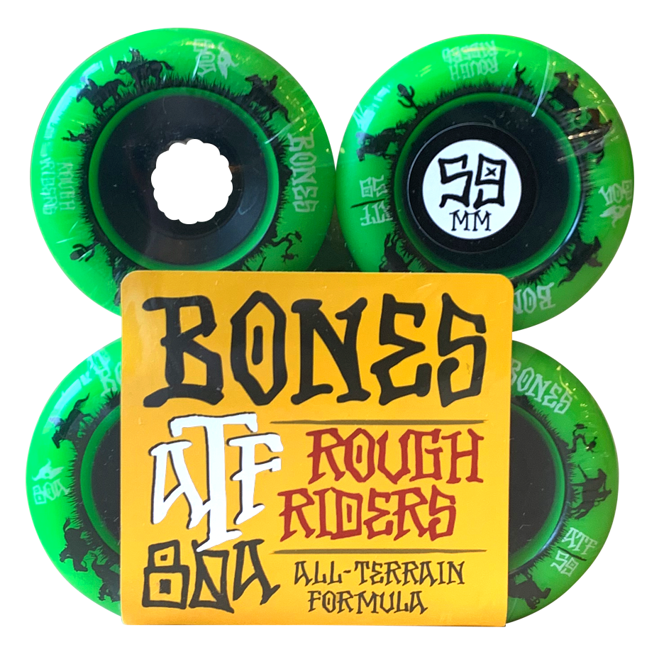 Image of Bones ATF Rough Riders Wranglers - Neon Green 59mm 80A