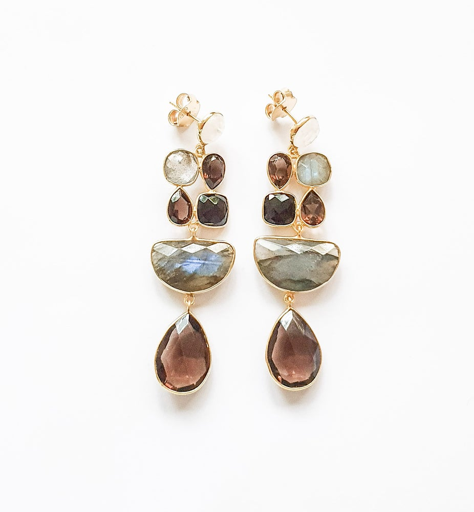 Image of Smoky Quartz, Onyx, Labradorite and Moonstone Statement Earrings