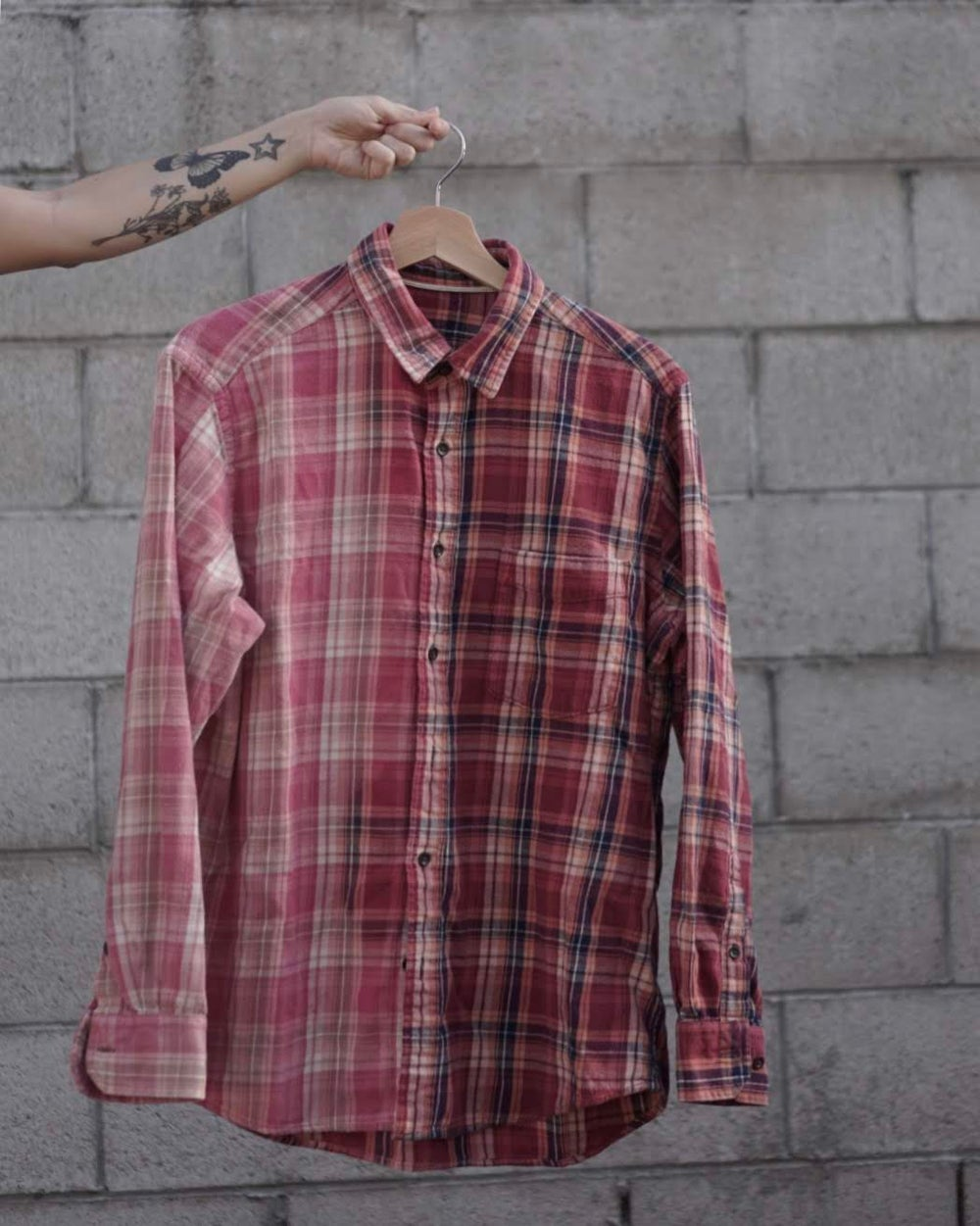 Image of classic faded pink/red flannel.