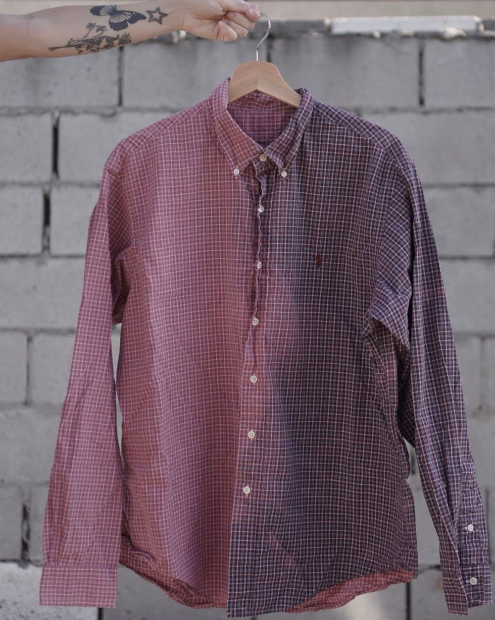 Image of half raulph/half lauren button up.