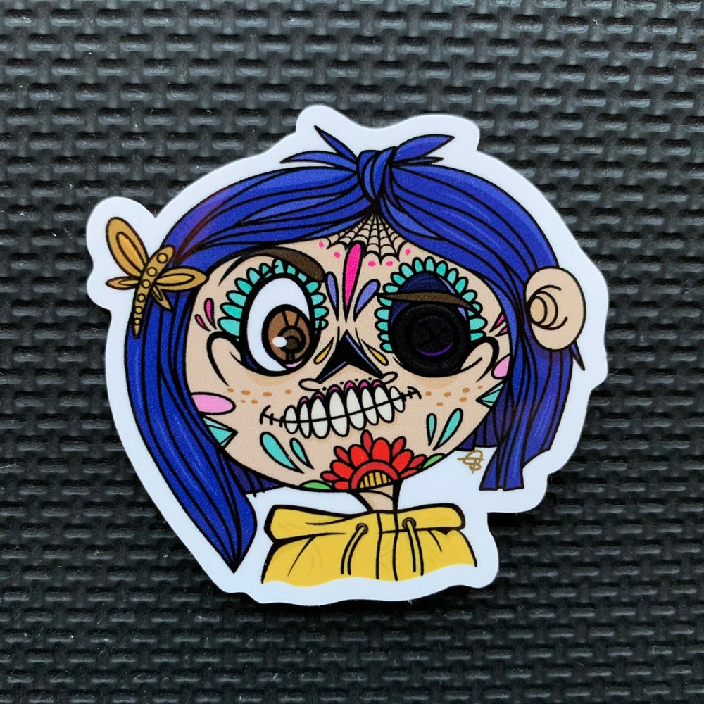 Image of Coraline Sugar Skull Sticker
