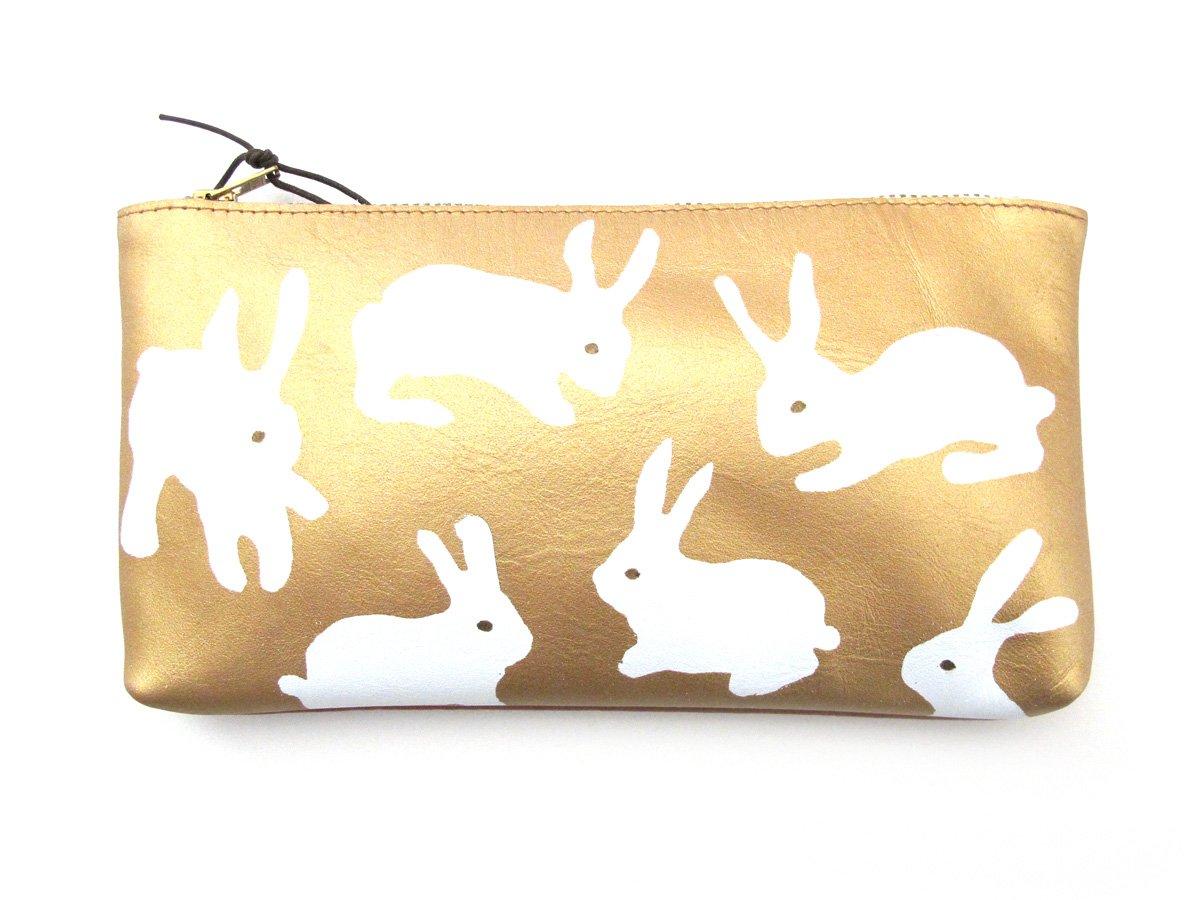 Image of Leather Gold Rabbit Purses