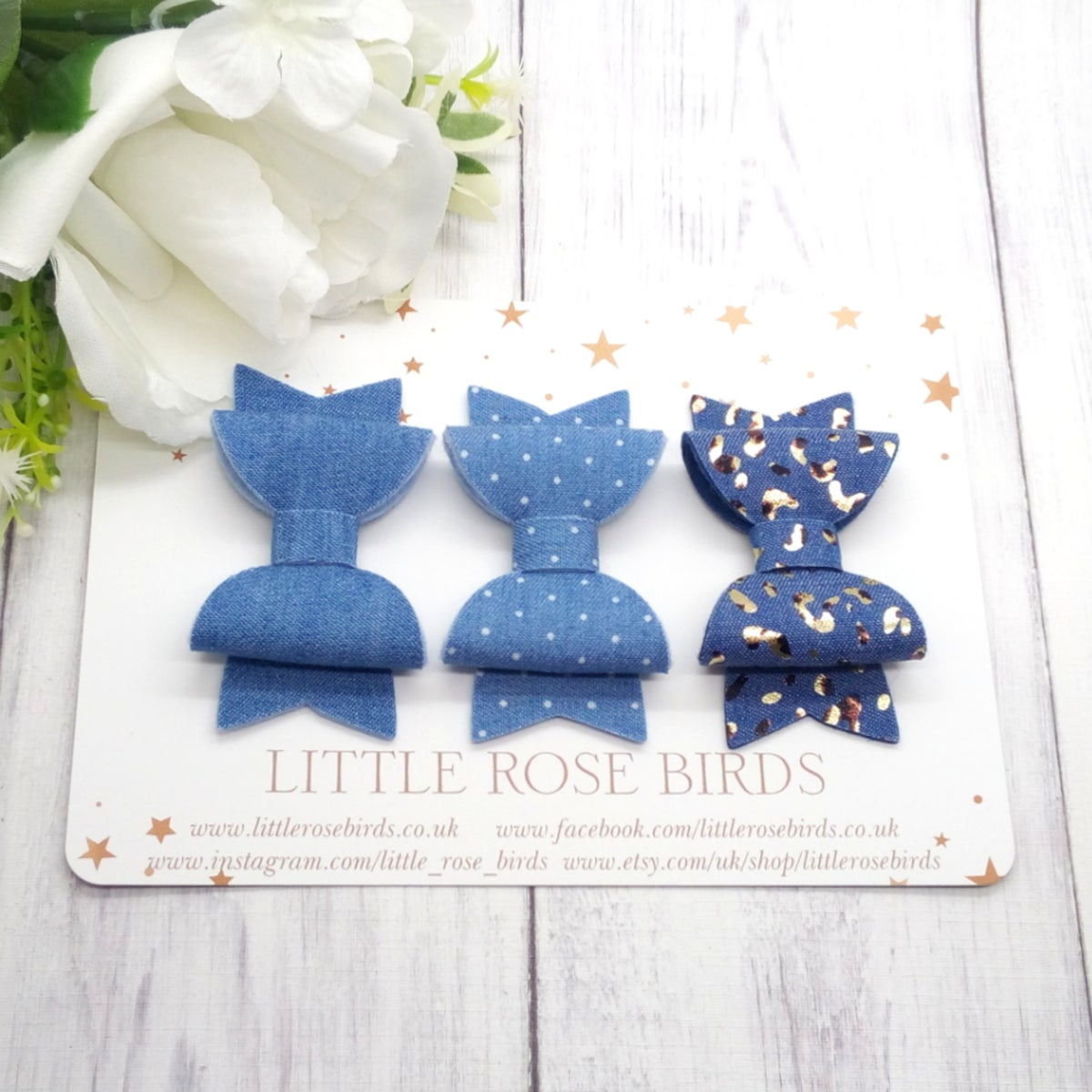 Image of SET OF 3 - Denim Bows - Choice of Headband or Clip