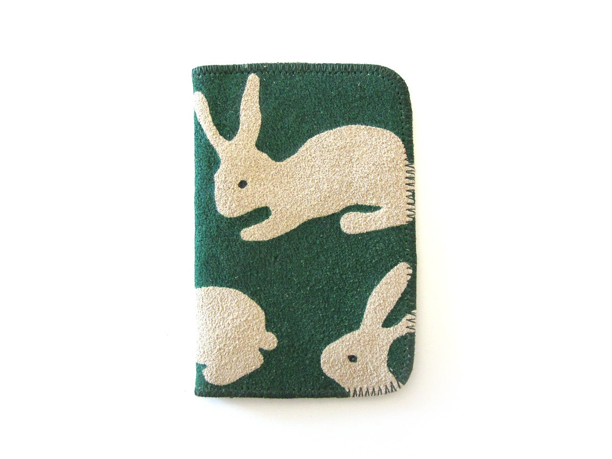 Image of Leather Green Rabbits Card Holders