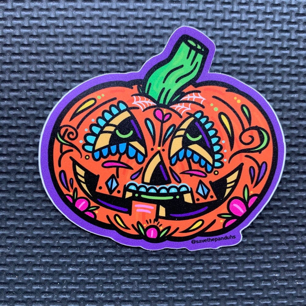 Image of Pumpkin Sugar Skull Sticker
