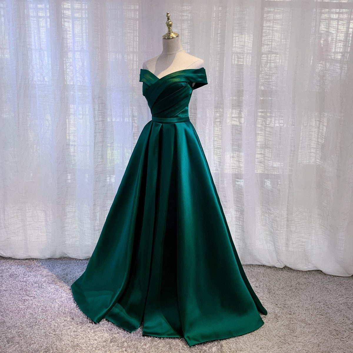 Dark Green Fashionable Sweetheart Off Shoulder Party Dress, Satin Evening Gowns