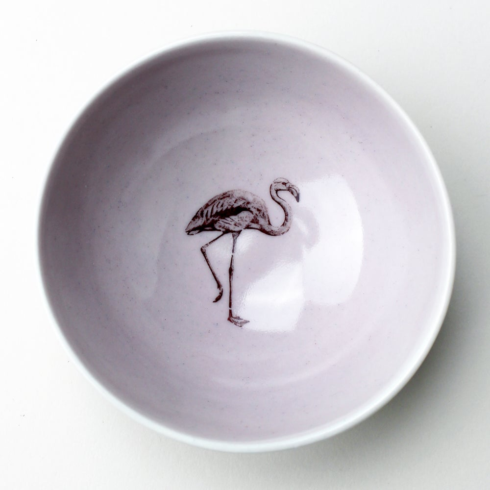 Image of roly poly bowl with flamingo, lilac