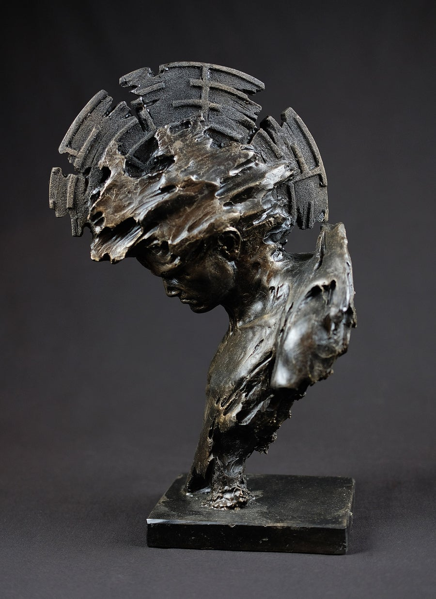 Image of Patrick Berthaud Bronze Resin Sculpture - 'Contact'