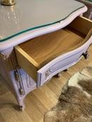 Image 2 of Dusky pink & gold French bedside tables