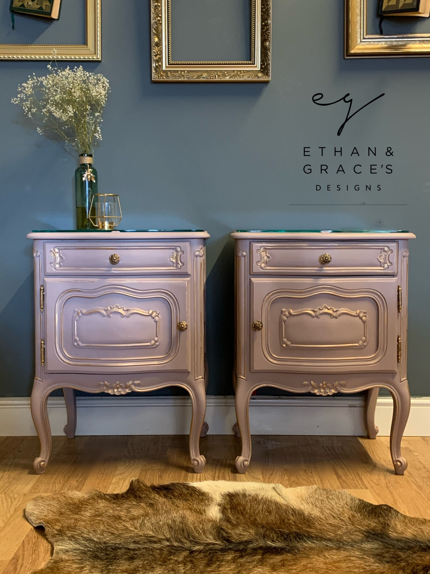 Image of Dusky pink & gold French bedside tables