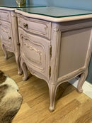 Image 5 of Dusky pink & gold French bedside tables