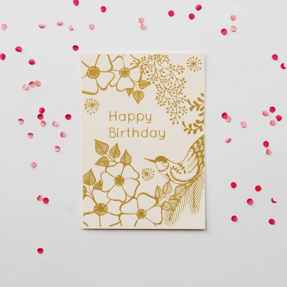 Image of Happy Birthday - Gold Bird