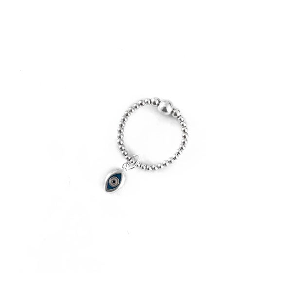 Image of Sterling Silver Evil Eye Charm Ring