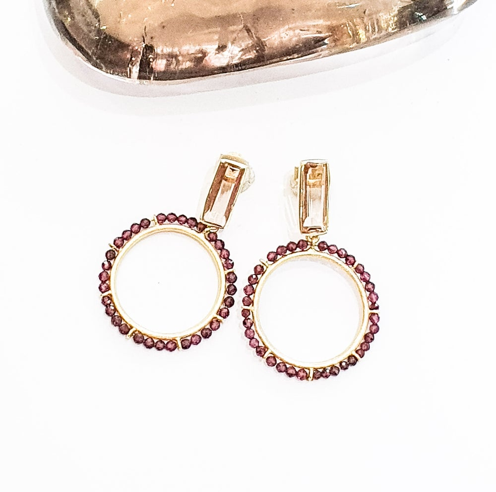 Image of Garnet and Quartz Hoops