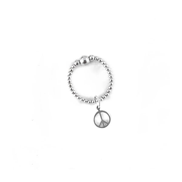 Image of Sterling Silver Peace Charm Ring