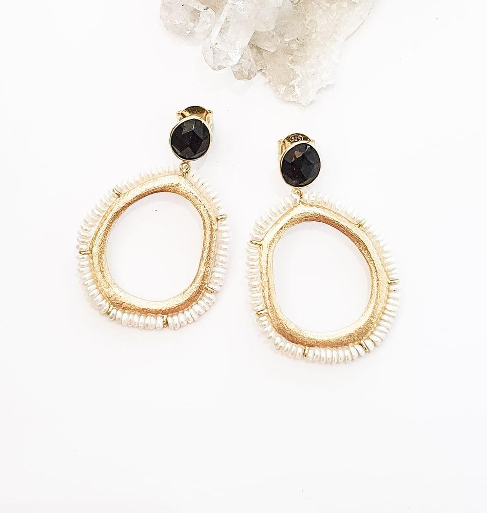 Image of Onyx and Pearl Hoop Earrings