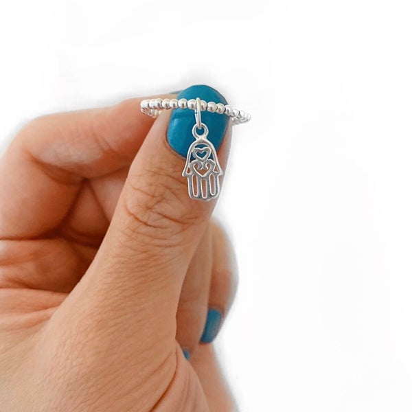 Image of Sterling Silver Hamsa Hand Charm Ring