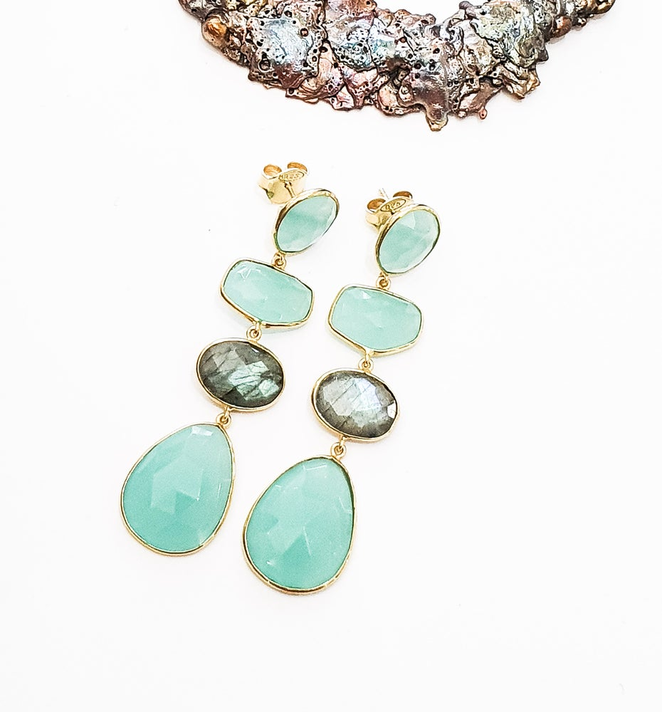 Image of Aqua Onyx and Labradorite Earrings