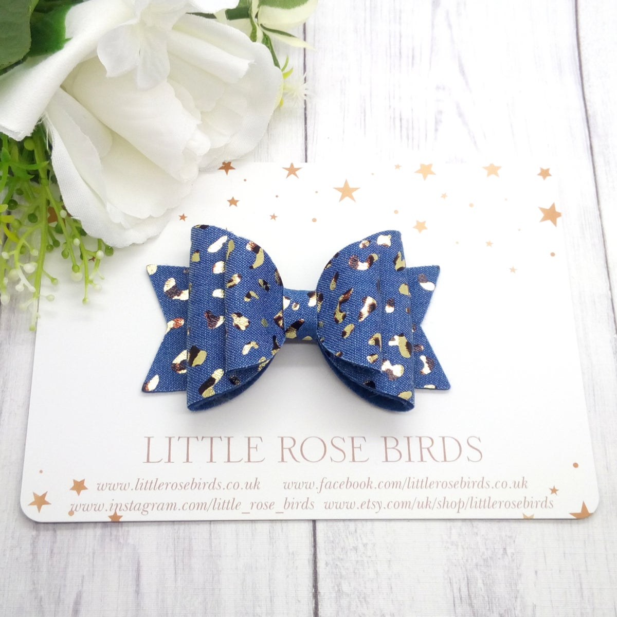 Image of Gold Leopard Print Denim Bow - Choice of Size
