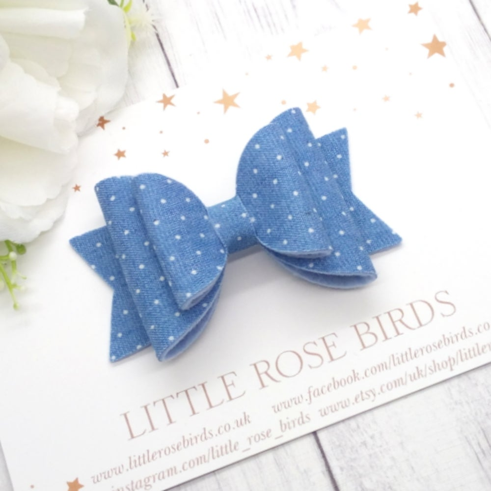 Image of Polka Dot Denim Bow - Choice of Size