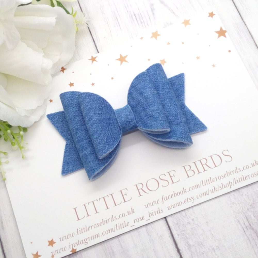 Image of Light Blue Denim Bow - Choice of Size