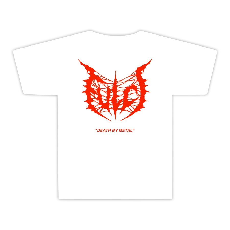 "Image of FULCI ""Death by Metal"" Blood/White T-shirt"