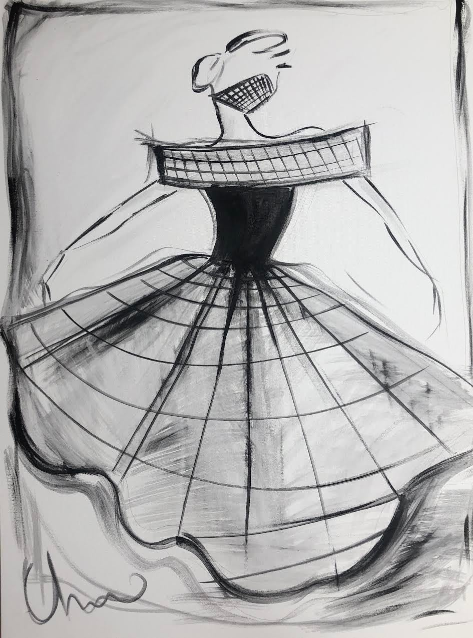 """Image of """"Large Crinoline Cage Ball Gown"""" - Original Painting"""