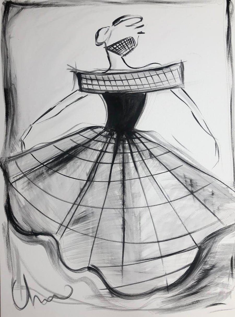 "Image of ""Large Crinoline Cage Ball Gown"" - Original Painting"