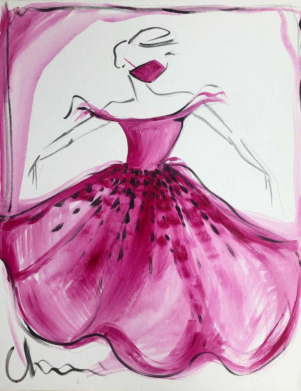 """Image of """"Beaded Fuchsia Gown"""" - Original Painting"""