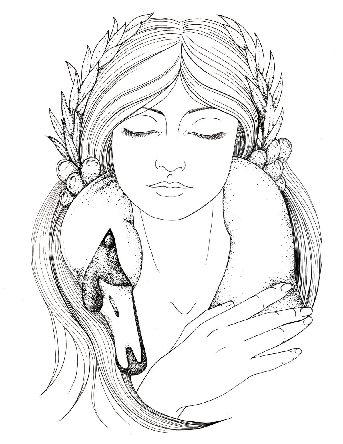 Image of Caer Ibormeith, goddess of dreams and prophecy, art print