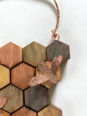 Image of Small Wood and Copper Honeycomb Wall Hanging #1