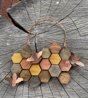 Image of Small Wood and Copper Honeycomb Wall Hanging #2