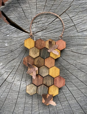 Image of Small Wood and Copper Honeycomb Wall Hanging #3