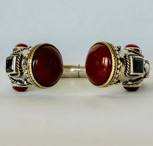 Image of carnelian & smokey topaz in sterling silver