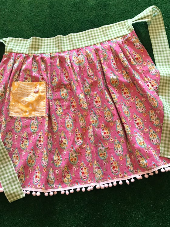 Image of Adult Half Apron, Bright Pink Paisley and Floral
