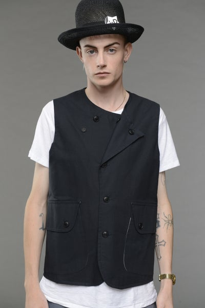 Image of WOOD GILET NAVY £245.00