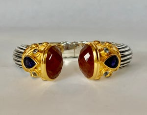 Image of carnelian with smoky topaz and crystals