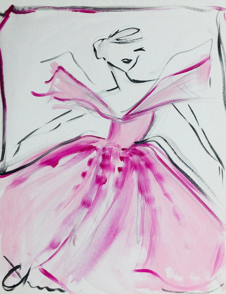 "Image of ""Small Fuchsia Ball Gown"" - Original Painting"