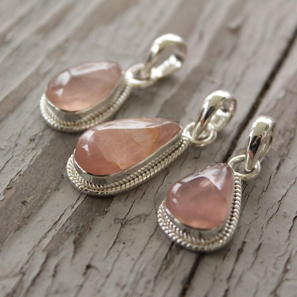Image of Sincerely Pendants - Rose Quartz in Sterling