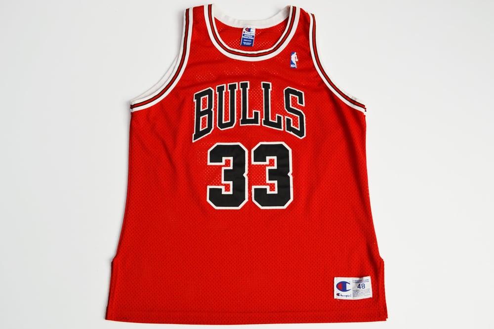 Image of Vintage 1990's Chicago Bulls Scottie Pippen Champion Authentic Jersey Sz.48