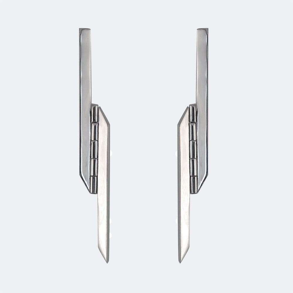 Image of AUGMENT EARRING — BLACK / SILVER