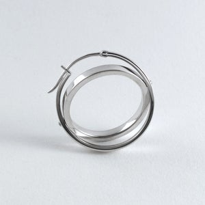 Image of INFINITY EARRING — BLACK / SILVER
