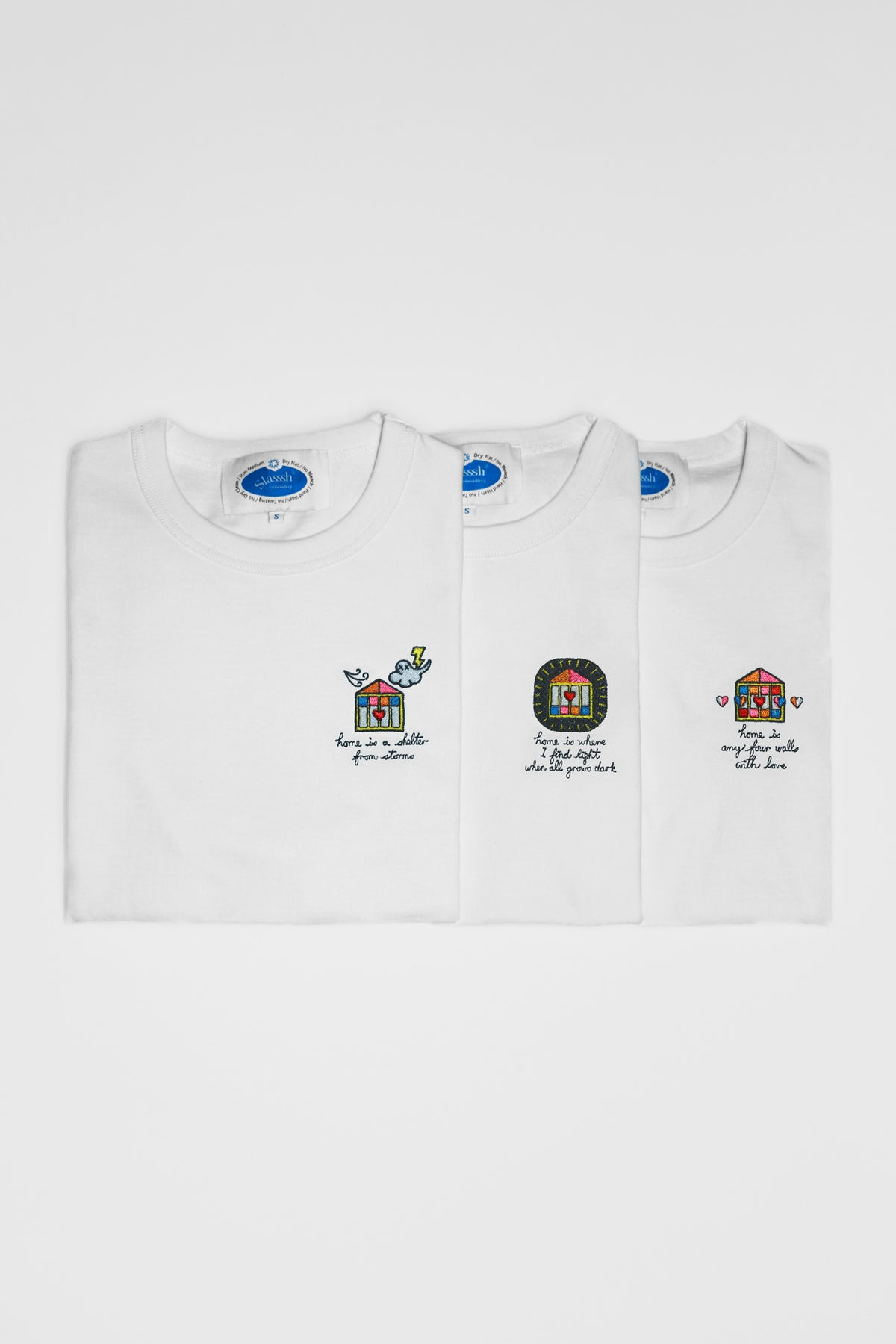 "Graphic Embroidery Tee - ""Home is"" Series Embroidery Tee"