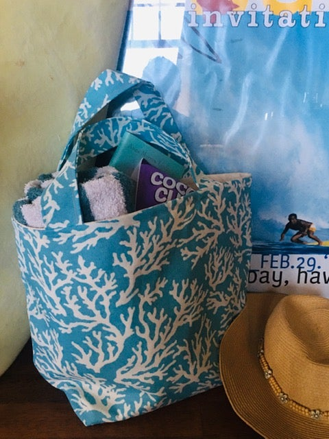 Turquoise Blue Coral Tote