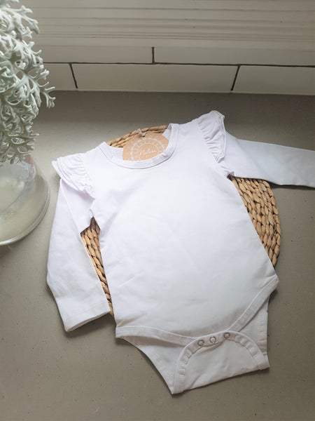 Image of White Frilled sleeve Onesie