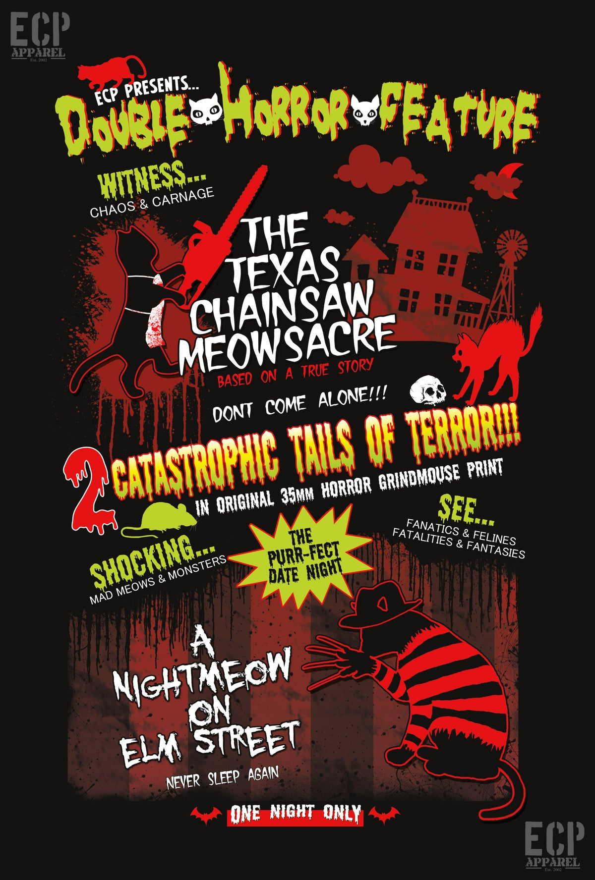 Texas Chainsaw Meowsacre/ Nightmeow On Elm St. Limited Print